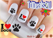 I Love Dogs Paw - Dog Breed Nail Decals - WaterSlide Nail Art Decals - Highest Quality! Made in USA