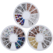 BMC 3 Wheel Set of Spike Oval + Marquise Plastic Nail Art Stud Bundle - So Metal Collection