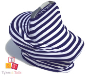 Tykes & Tails - 5 in 1 Baby Breastfeeding Cover, Car Seat Cover, Shopping Cart Cover and Trendy Scarf - Navy / White Stripe Pattern - Many Other Colours Options - Best 5in1 Nursing Cover on the Amazon