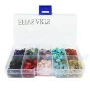 Efivs Arts Natural 10 Assorted Chips Stone Crushed Chunked Crystal Pieces Irregular Shaped Loose Beads in Bulk Value Pack