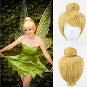 Festival party golden tinker bell cosplay wigs short straight artificial hair