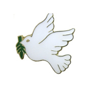 White Dove with Olive Branch Lapel Pin (12 Pins) Peace Dove