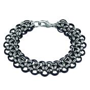 Weave Got Maille KIT-A270.05 Japanese Lace Chain Bracelet Kit, Black Lace, Onyx/Silver