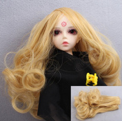 WellieSTR (Gold Colour) 15*100cm BJD/SD Doll DIY Wig Lovely Long Curls Hair,DIY Wigs Hair High-temperature Wire Handmade Curly Doll Wigs Involtini Alla Romana Wig