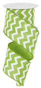 Chevron Wired Edge Ribbon (6.4cm , Lime Green White) - 10 Yards : RG1019E9