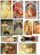 Vintage Printed Alphonse Mucha Reproduction Cards Collage Sheet #102 Scrapbooking, Decoupage, Labels