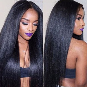 Eayon Hair 6A Virgin Hair Glueless Human Hair Lace Front Wig Brazilian Remy Light Yaki Straight Hair Wigs with Baby Hair For African Americans 130% Density Natural Colour 36cm