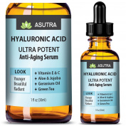 HYALURONIC ACID Anti Ageing Serum - ULTRA HYDRATING & EFFECTIVE / With Vitamin E & C, Geranium Oil, Green Tea Extract, Aloe & Jojoba + FREE E-Book