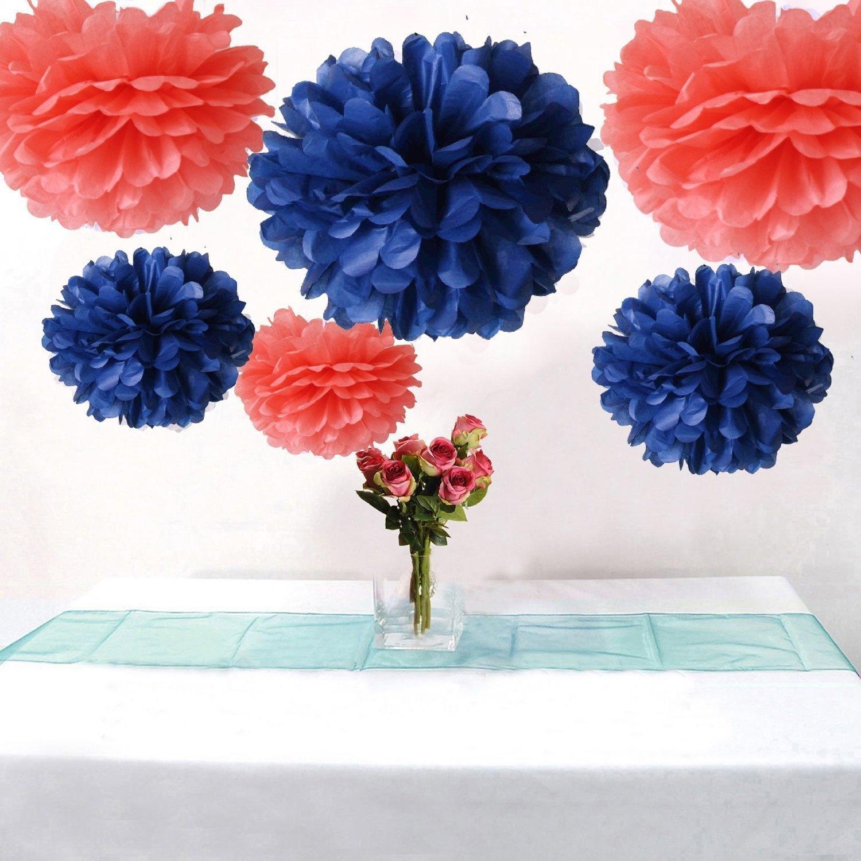 Somnr Set Of 6 Navy Blue Coral Tissue Paper Flower Pompoms Wedding Birthday Bridal Shower Party Hanging Decoration By Somnr