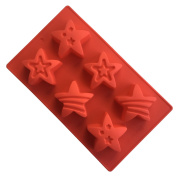 Always Your Chef 6-Cavity Silicone Six Styles Stars Soap Moulds Cupcake Moulds, Random Colours