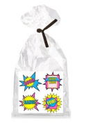 Girl's Super Hero Birthday Pink Theme Party Supplies - 12 Party Favour Bags with Twist Ties