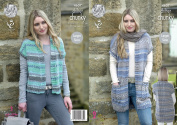 King Cole Ladies Chunky Knitting Pattern - Short Ribbed Waistcoat or Long Cabled Waistcoat