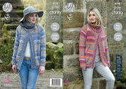 King Cole Ladies Chunky Knitting Pattern - Easy Knit Round or Polo Neck Sweater Jacket
