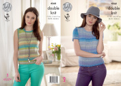 King Cole Ladies Double Knitting Pattern - Short Sleeved Lace Sweater & Sleeveless Slipover