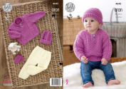 King Cole Baby Comfort Aran Knitting Pattern Sweater Trousers Hat & Mittens