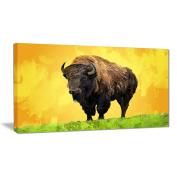 Digital Art PT2328-60-28 Lone Bison Yellow Animal Canvas Art