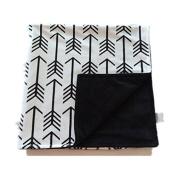 Towin Baby Arrow Minky Double LayerReceiving Blanket, Black 30x40