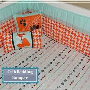 Baby Crib Bedding Bumper Orange, Mint & Grey, Boy, Houndstooth Fox Set