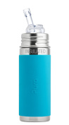 Pura Kiki 270ml Stainless Steel Insulated Bottle with Silicone Straw, Aqua