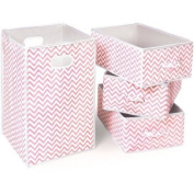 Badger Basket Folding Hamper and 3-Basket Set, Pink Chevron