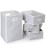 Badger Basket Folding Hamper and 3-Basket Set, Grey Chevron