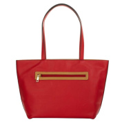 TravelSmith RFID Womens Tote Handbag with Anti-Theft PacSafe Features - Red/Camel