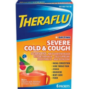Theraflu Cold & Flu Relief Daytime Severe Cold & Cough, Hot Liquid Powder, Berry Flavour, 6 Packets