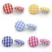 """MaxPremier(TM)100PCs Acrylic Buttons Sewing Fabric Covered Round Mixed 14mm( 4/8"""")Dia. Clothes Accessories"""