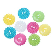 """MaxPremier(TM)2016 New 100PCs Resin Buttons Round Multi-coloured Mixed Sewing Scrapbooking Crafts 15mm( 5/8"""") Dia."""