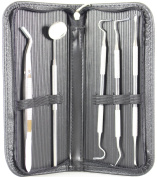 Dentist Tools Kit By DigHealth(TM) - Set Of Dental Tools- Included Anti Fog Mirror, Tartar Scraper, Dental Pick, Dental Scaler, Dental Forceps And Carrying Pouch - For Both Personal And Pet Use