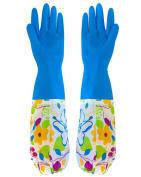 BESTCYC Blue Long Reusable Flower Velveteen Antiskid Household Laundry Dishwashing Waterproof Latex Rubber Gloves