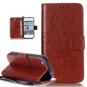iPhone 4S Case,iPhone 4 Case,iPhone 4S/4 Case,ikasus Embossing Flower Vines Butterfly Flip PU Leather Flip Wallet Pouch Stand Credit Card ID Holders Case Cover for Apple iPhone 4S/4,Brown