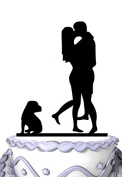 Meijiafei Wedding Cake Topper - Kissing Brider and Groom with American Pit Bull Terrier Silhouette
