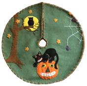 Handmade 28cm Felt Applique Cat Jack-O Halloween Tree Skirt Small Tabletop Size