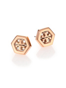 Tory Burch Hex-Logo Stud Earrings 16k Rose Gold