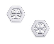 Tory Burch Hex-Logo Stud Earrings Silver With Dust Cover