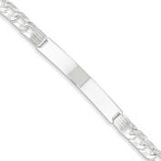Sterling Silver Polished ID Link Fancy Engravable Bracelet With Lobster Clasp Length 18cm