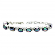Incredible Sterling Silver Mystic Topaz Bracelet, Adjustable From 15cm - 18cm