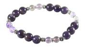 Amethyst Bracelet with Super Seven, Melody Stone, 7 1/2, Sterling Silver, Stretch