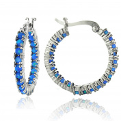 Sterling Silver Created Opal Inside Out Hoop Earrings