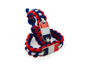 International Charms 2016 Olympic Edition France Paracord Bracelet (2) Pack Red/White/Blue with French Flag Dogtag France