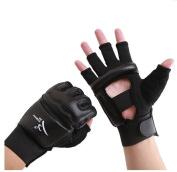 Wonzone Half Finger Taekwondo Training Boxing Gloves, Taekwondo/ Muay Thai Training/Punching Bag Gym Half Mitts Sparring Gloves Black