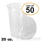 COMFY PACKAGE 50 Sets 590ml Plastic CRYSTAL CLEAR Cups with Flat Lids for Cold Drinks, Iced Coffee, Bubble Boba, Tea, Smoothie etc.