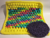 Handmade Crocheted Dishcloth and Scrubbie Set - Grape / Multi