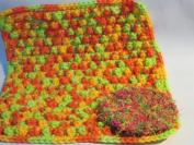 Handmade Crocheted Dishcloth and Scrubbie Set - Tropical / Citrus