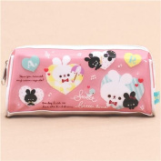 cute pink white rabbit music note heart glitter pencil case from Japan