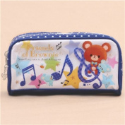 cute white dark blue bear mouse star pencil case from Japan