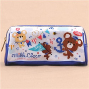 cute white dark blue bear sailor anchor pencil case from Japan