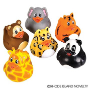 GIFTEXPRESS 12 pcs Zoo Animal Rubber Duckies