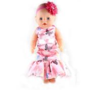 ZWSISU Doll Clothes- Beautiful Pink Dress Fits 46cm Baby Doll,American Girl Doll
